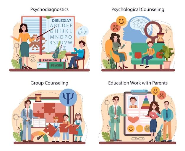 Conjunto de cursos da escola de psicologia. estudo de saúde mental e emocional.