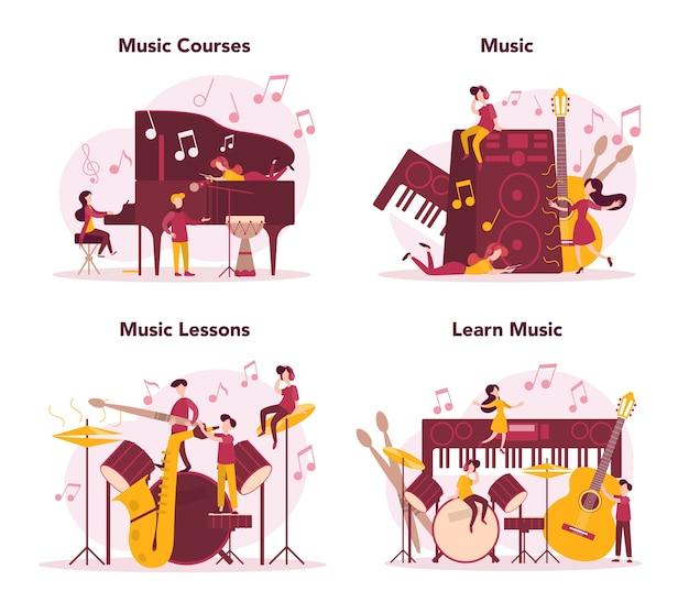 Conjunto de cursos de músico e música. jovem intérprete tocando música com equipamento profissional. músico talentoso tocando instrumentos musicais. .