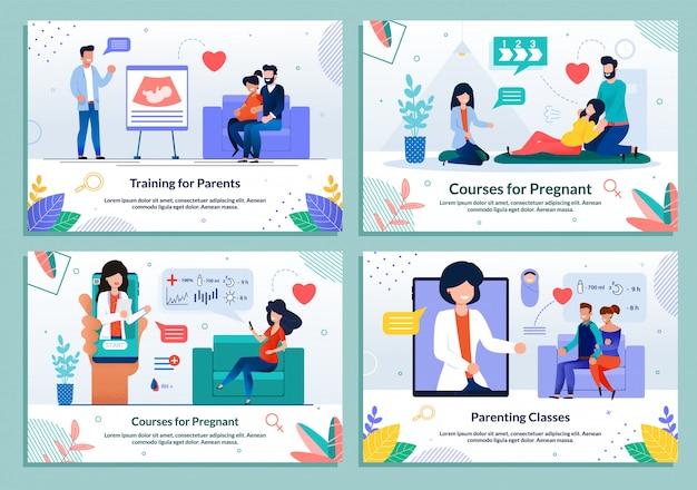 Conjunto de cursos de treinamento para grávidas e pais