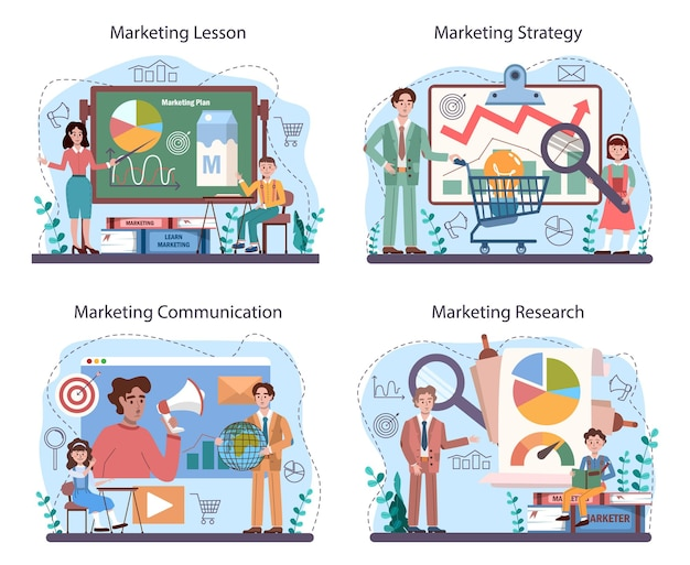 Conjunto de cursos escolares de educação em marketing. aula de promoção de negócios e comunicação com o cliente. alunos fazendo pesquisa de marketing, análise de mercado. ilustração vetorial plana