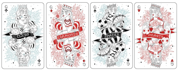 Conjunto de damas de cartas de jogar
