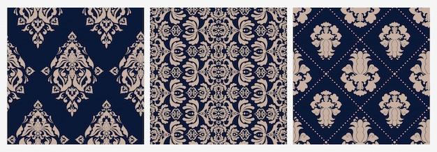 Conjunto de damasco floral vitoriano sem costura padrão colorido luxo retrô ornamento