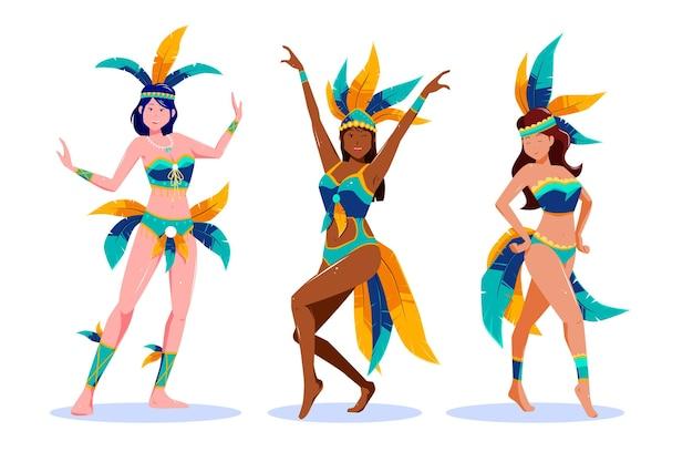 Conjunto de dançarina de carnaval brasileira