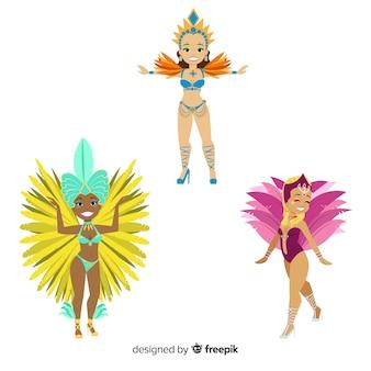 Conjunto de dançarina de carnaval brasileiro de mão desenhada