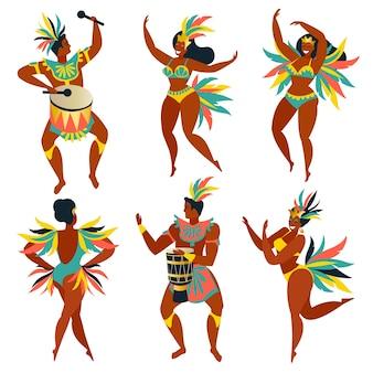 Conjunto de dançarinas brasileiras de samba rio de janeiro.