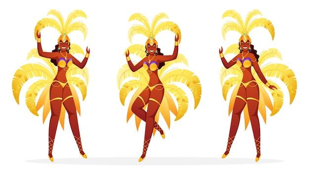 Conjunto de dançarinas de samba brasileiras
