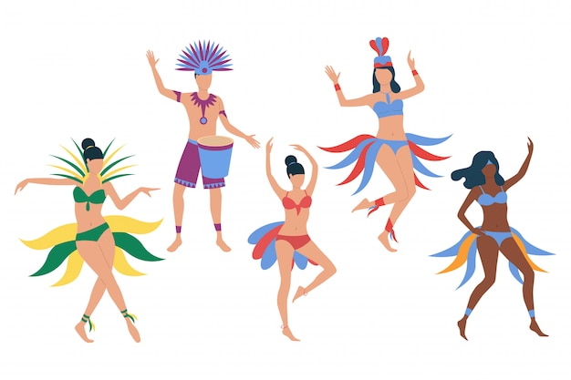 Conjunto de dançarinos de carnaval brasileiro
