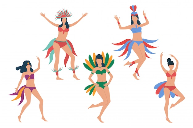 Conjunto de dançarinos de carnaval