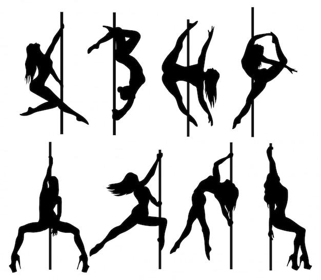 Conjunto de dançarinos de mulheres silhueta em um poste.