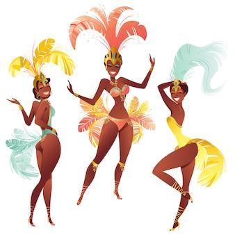 Conjunto de dançarinos de samba brasileiros. meninas de carnaval dançando.