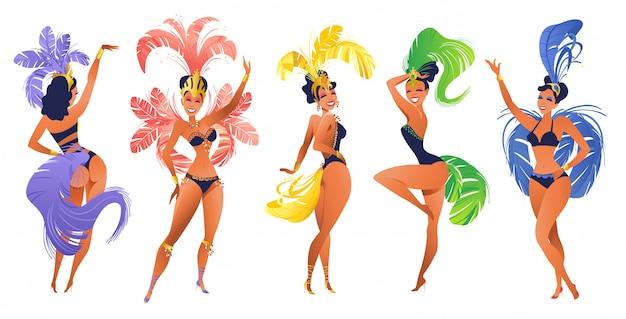 Conjunto de dançarinos de samba brasileiros