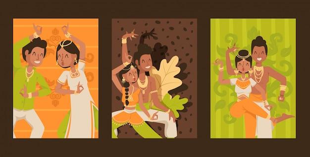 Conjunto de dançarinos indianos de banners