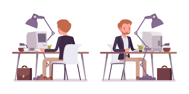 Conjunto de dândi sentado na mesa, traseira, vista frontal