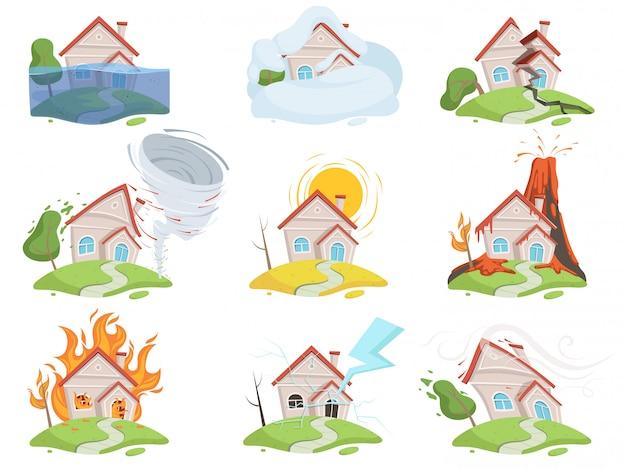 Conjunto de danos de desastre da natureza. fotos de desenhos animados do fogo vulcão água vento árvore destruição tsunami vector