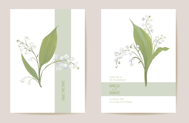 Conjunto de data floral do lírio do casamento. flores da primavera do vetor, folhas do cartão do convite do boho. moldura pastel de modelo aquarela, capa de dia dos namorados, design moderno de fundo, papel de parede