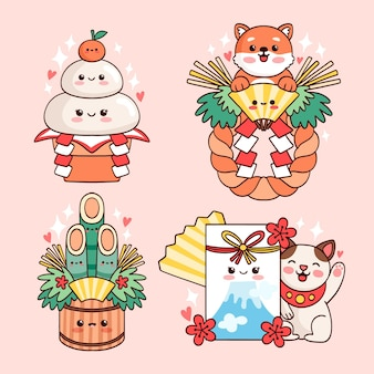 Conjunto de decoração de ano novo japonês kawaii