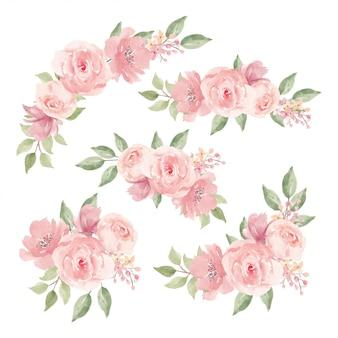Conjunto de decoração de buquê de flores em aquarela rosa rosa