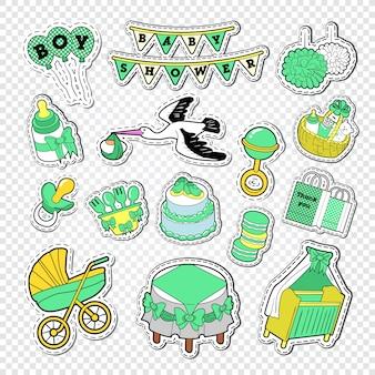 Conjunto de decoração de chá de bebê com brinquedos e meias
