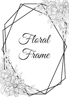 Conjunto de decoração de contorno de borda de quadro floral desenhado à mão isolado