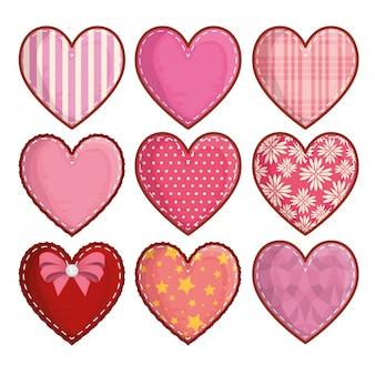 Conjunto de decoração de corações e símbolo do romance