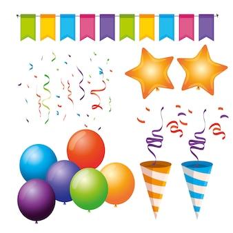 Conjunto de decoração de festa com balões, bandeiras, estrelas e confetes para evento