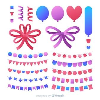 Conjunto de decoração de festa de mão desenhada