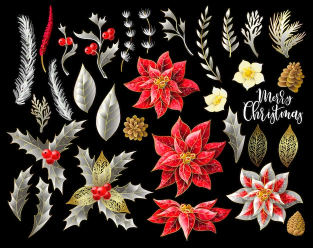 Conjunto de decoração de flores de natal no escuro