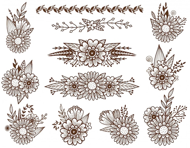 Conjunto de decoração de flores dos desenhos de flores, brunches e folhas. fronteira de flores do campo