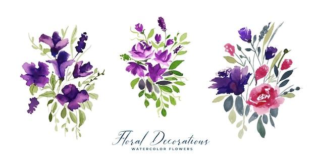 Conjunto de decoração de flores em aquarela buquê
