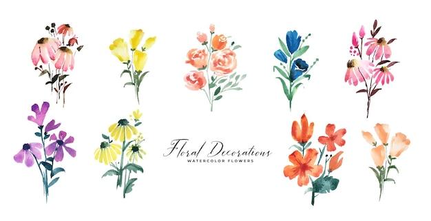 Conjunto de decoração de flores em aquarela isoladas