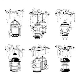 Conjunto de decoração de gaiola de casamento de mão desenhada