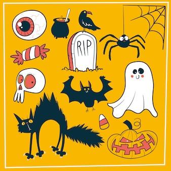 Conjunto de decoração de halloween doodle