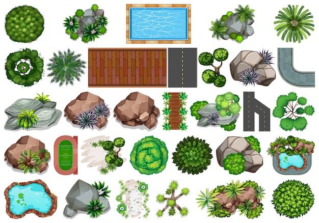 Conjunto de decoração de jardim