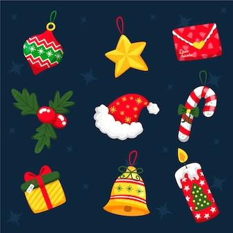 Conjunto de decoração de natal de mão desenhada
