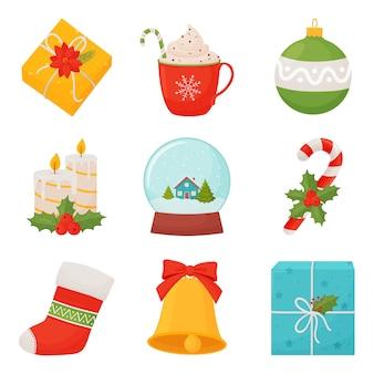 Conjunto de decoração de natal desenhada à mão