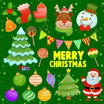 Conjunto de decoração de natal pintada em aquarela clipart festivo desenhado à mão