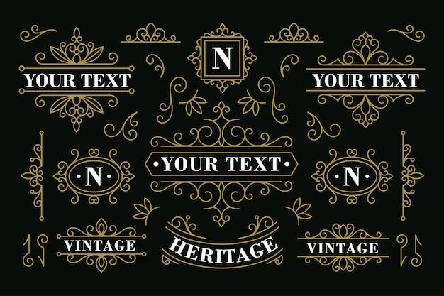 Conjunto de decoração de ornamento vintage de vetor