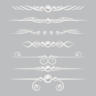 Conjunto de decoração de página de divisores de pérolas