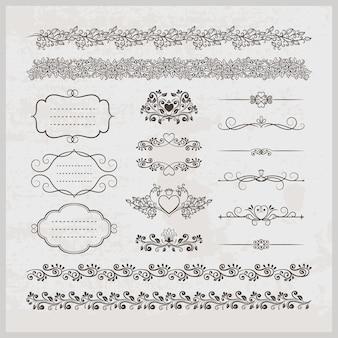 Conjunto de decoração de página vintage caligráfica elegante e elegante com bordas de quadros e corações com elementos florais