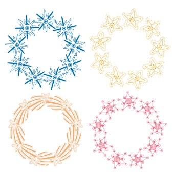 Conjunto de decoração de quadros estrelas. sketchy hand drawn vector illustration