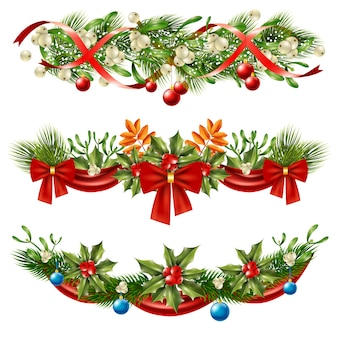 Conjunto de decoração de ramos de bagas de natal