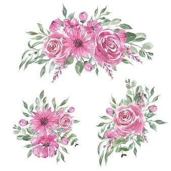 Conjunto de decoração e arranjo em aquarela de flor rosa doce