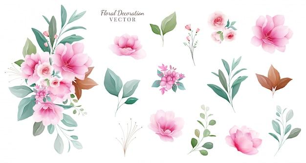 Conjunto de decoração floral. arranjos botânicos elementos individuais de flores cor de rosa e roxas, folhas, galhos.