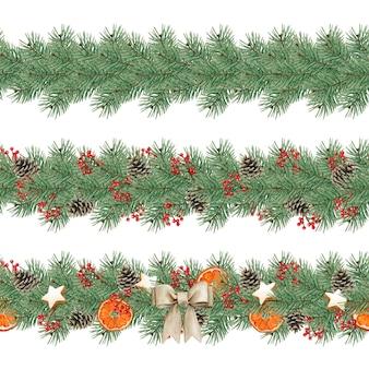 Conjunto de decoração floral de natal