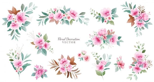 Conjunto de decoração floral. ilustração de arranjos botânicos de flores cor de rosa e vermelhas, folhas, galhos.