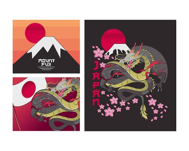 Conjunto de decoração japonesa Vetor Premium