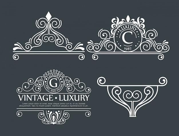 Conjunto de decoração ornamental para molduras ou etiquetas