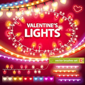 Conjunto de decorações de luzes de dia dos namorados
