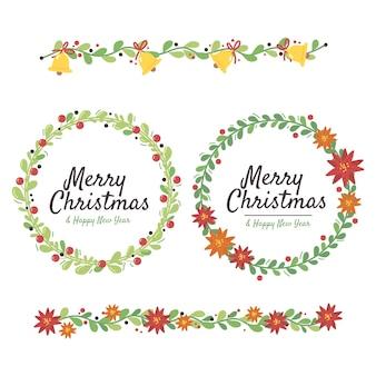 Conjunto de decorações de natal desenhadas à mão
