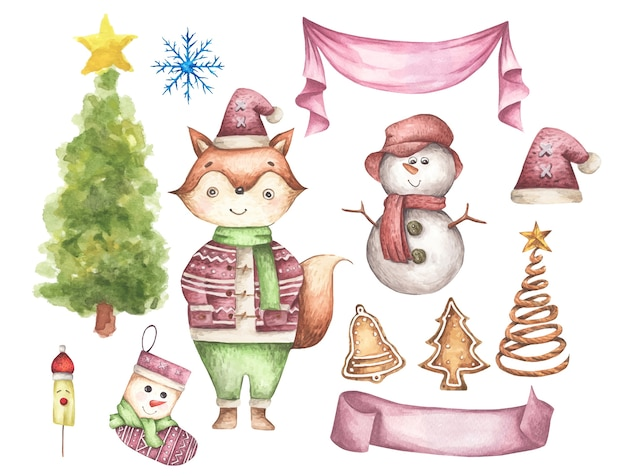 Conjunto de decorações de natal. elementos aquarela sobre um fundo branco.